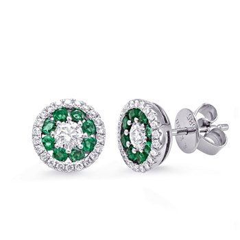 White Gold Emerald & Diamond Earring