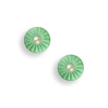 Green Round Stud Earrings.Sterling Silver-Freshwater Pearls