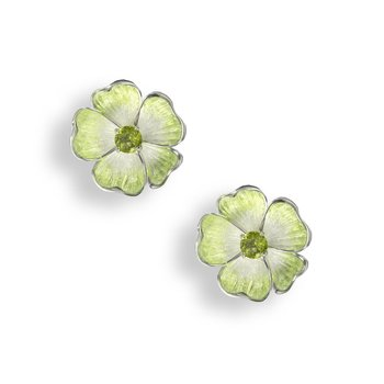 Green Floral Stud Earrings.Sterling Silver-Peridot