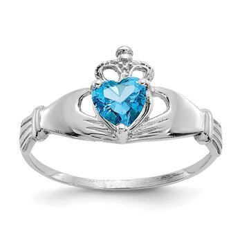 14k White Gold CZ December Birthstone Claddagh Heart Ring