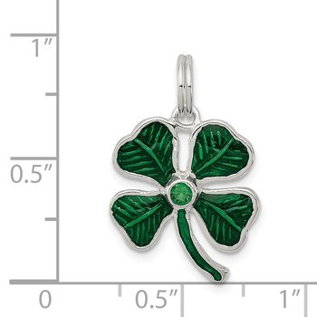 Sterling Silver Enameled 4-Leaf Clover with Green Glass Stone Charm