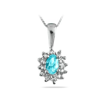 14K WG Diamond & Acquamarine All Purpose Pendant