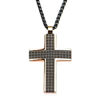 Black Plated and Rose Gold Plated Cross Pendant with Matte Black Round Wheat Chain