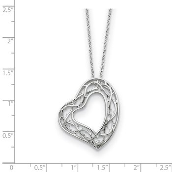 Sterling Silver Amazing Love 18in Heart Necklace