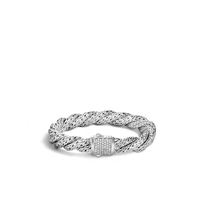 JOHN HARDY Twisted Chain 9MM Bracelet in Silver with Diamonds