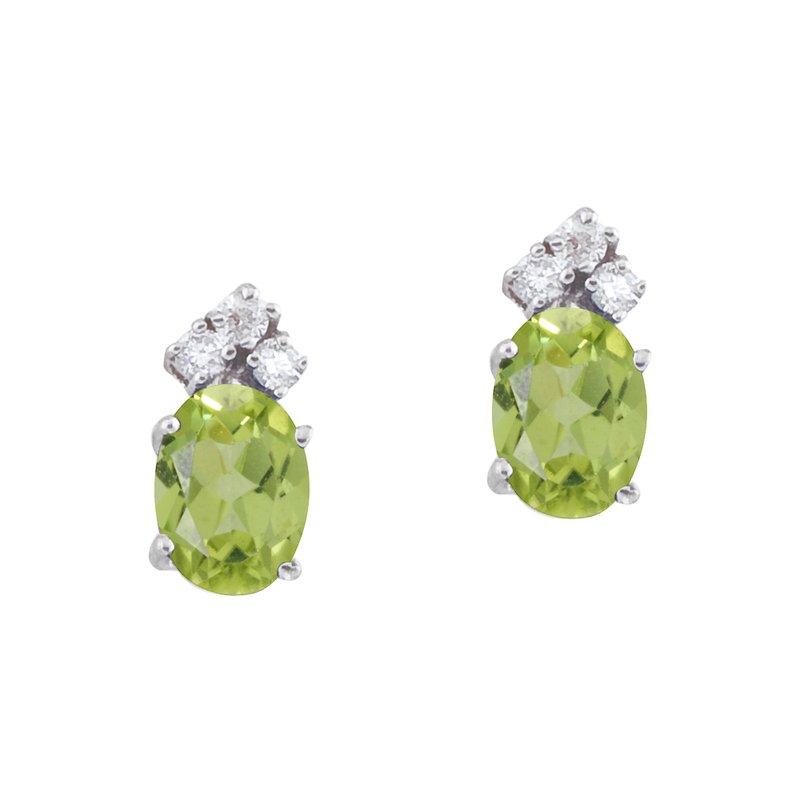 Color Merchants 14k White Gold Peridot And Diamond Oval Earrings
