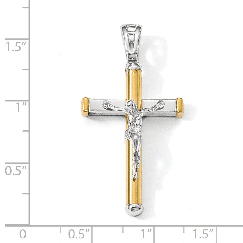 Leslie's Italian Gold Leslie's 14K Two-tone Polished Crucifix Pendant