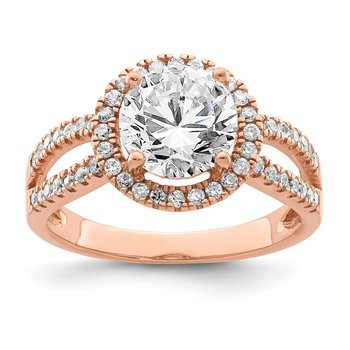 Sterling Silver Rose-tone 8mm Center CZ Halo Ring
