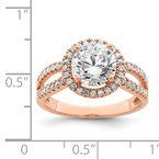 Quality Gold Sterling Silver Rose-tone 8mm Center CZ Halo Ring