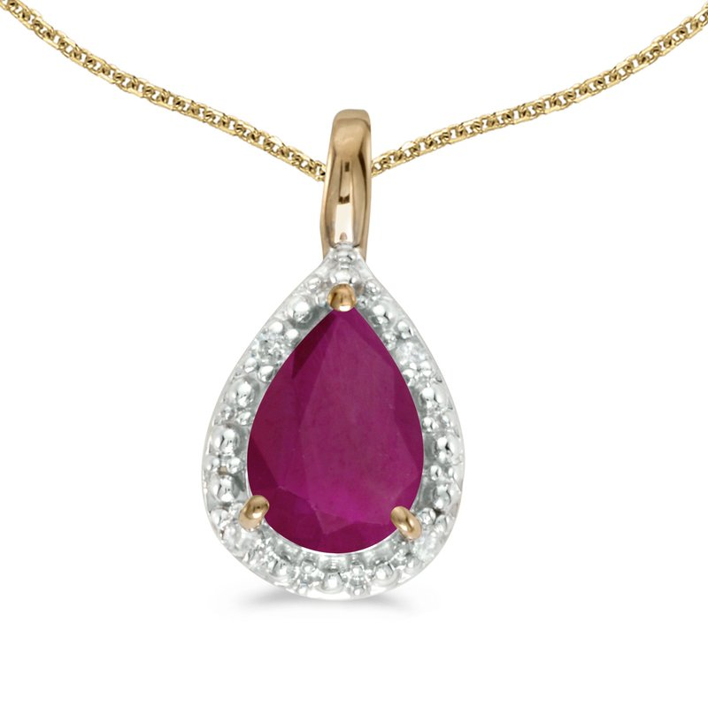 Color Merchants 10k Yellow Gold Pear Ruby Pendant