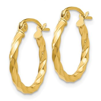14k Twist Polished Hoop Earring