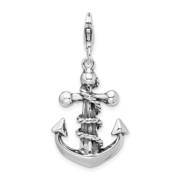 Sterling Silver 3-D Antiqued Anchor & Rope w/Lobster Clasp Charm
