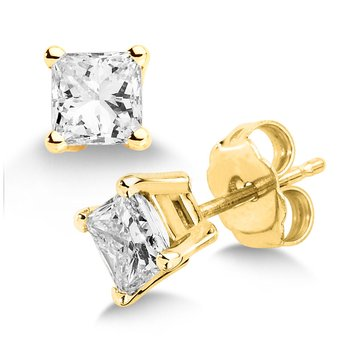 Four Prong Princess cut Diamond Studs in 14k yellow Gold Screw-back posts (1ct. tw.)