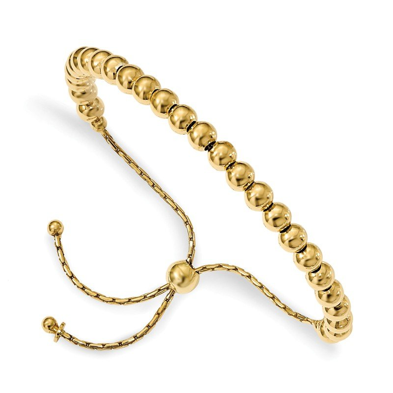 Leslie's Italian Gold Leslie's Sterling Silver Gold-tone Polished Beaded Adjustable Bracelet