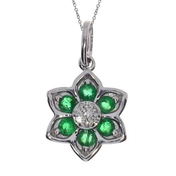 14k White Gold Emerald Star Pendant