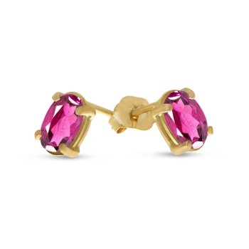 14k Yellow Gold Oval Pink Topaz Earrings
