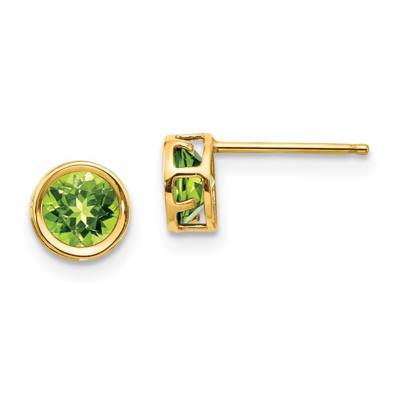 Quality Gold 14k 5mm Bezel Peridot Stud Earrings