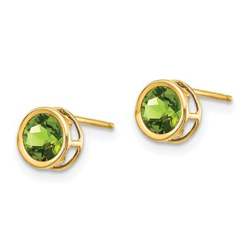 14k 5mm Bezel Peridot Stud Earrings