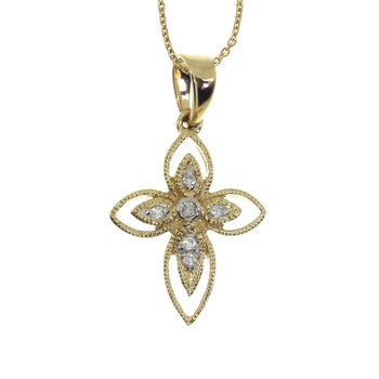 14K Yellow Gold Small Rope Diamond Cross Pendant