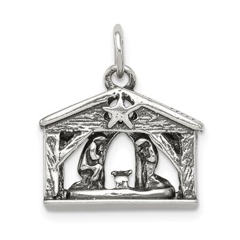 Sterling Silver Antiqued Manger Charm