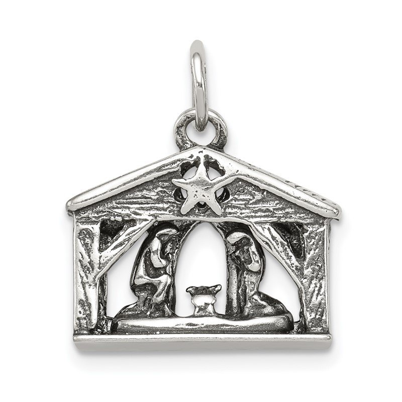 Quality Gold Sterling Silver Antiqued Manger Charm