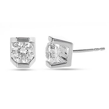 14K WG Diamond  Incas Bar Set Solitaire Stud  Earring 0.15 cts