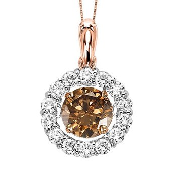 14KP Diamond Rhythm Of Love Pendant 1 ctw (3/4 ctw Brown Center)