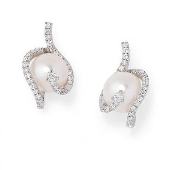 White Pearl Earrings-CEP3289WWH
