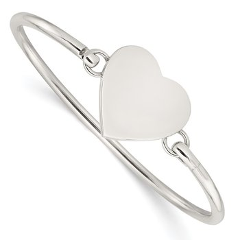 Sterling Silver Polished Engravable Heart Bangle