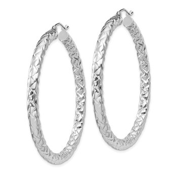 Sterling Silver Rhodium-plated Textured 4x50mm Hoop Earrings