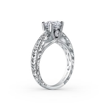 Kirk Kara 18K White Gold Diamond Engraved Vintage Engagement Ring