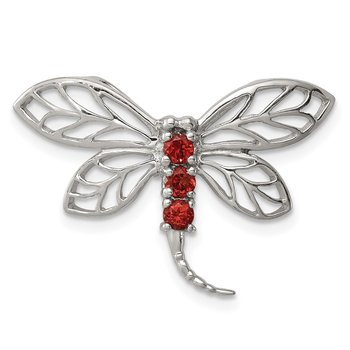 Sterling Silver Rhodium Garnet Dragonfly Chain Slide