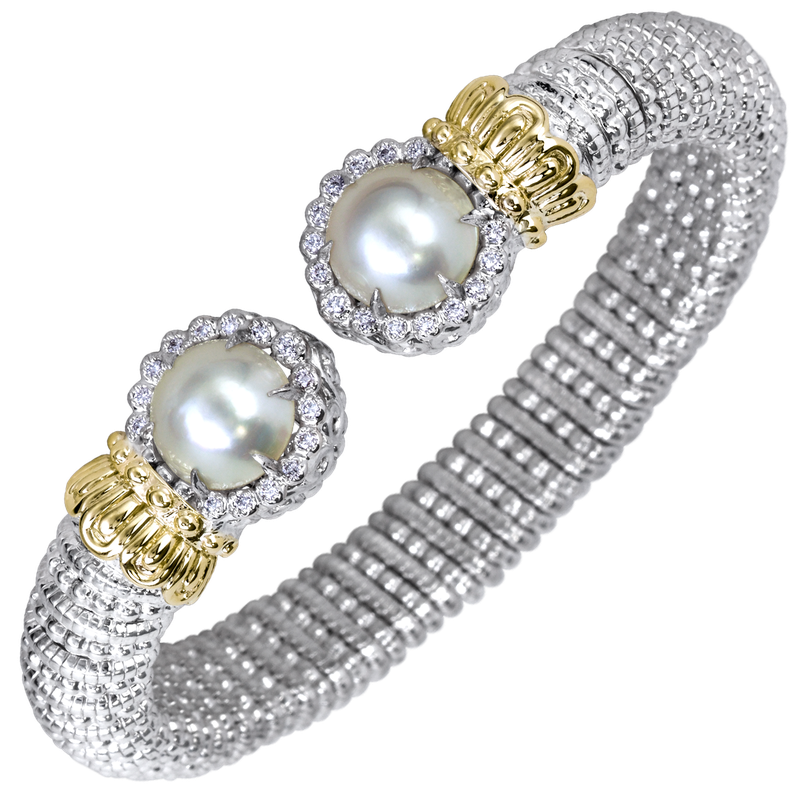 Alwand Vahan Halo diamond and Pearl bracelet