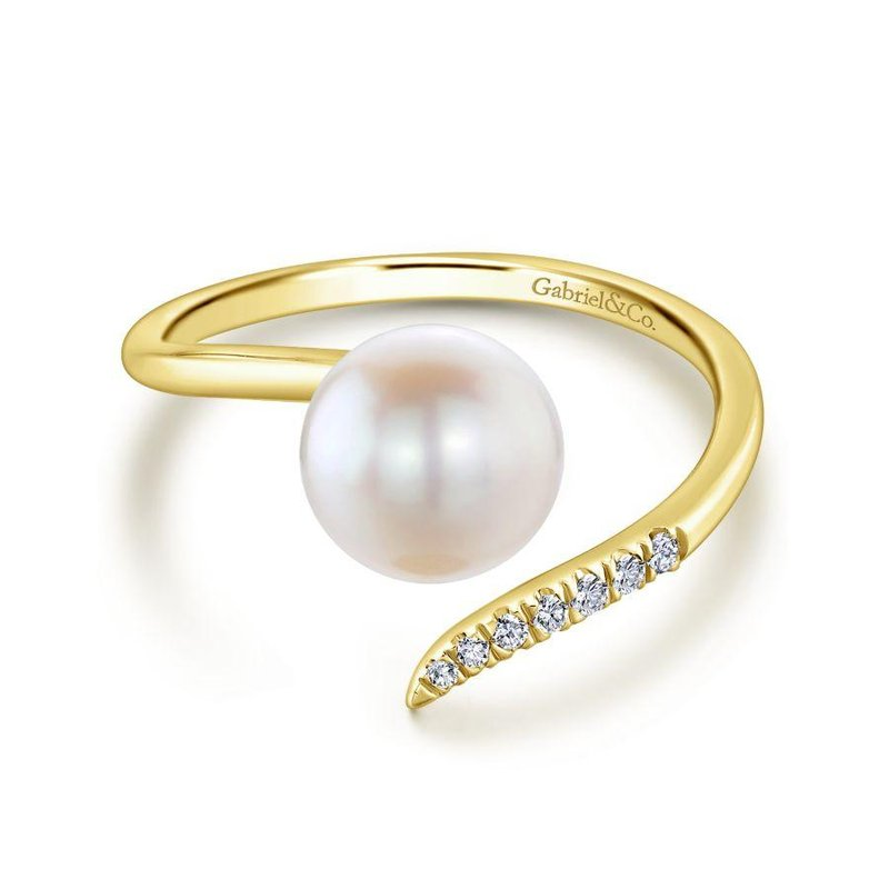 Gabriel Fashion 14K Yellow Gold Cultured Pearl and Diamond Open Wrap Ring