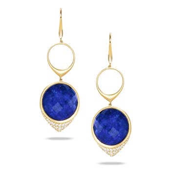Royal Lapis Dangle Earrings 18KY