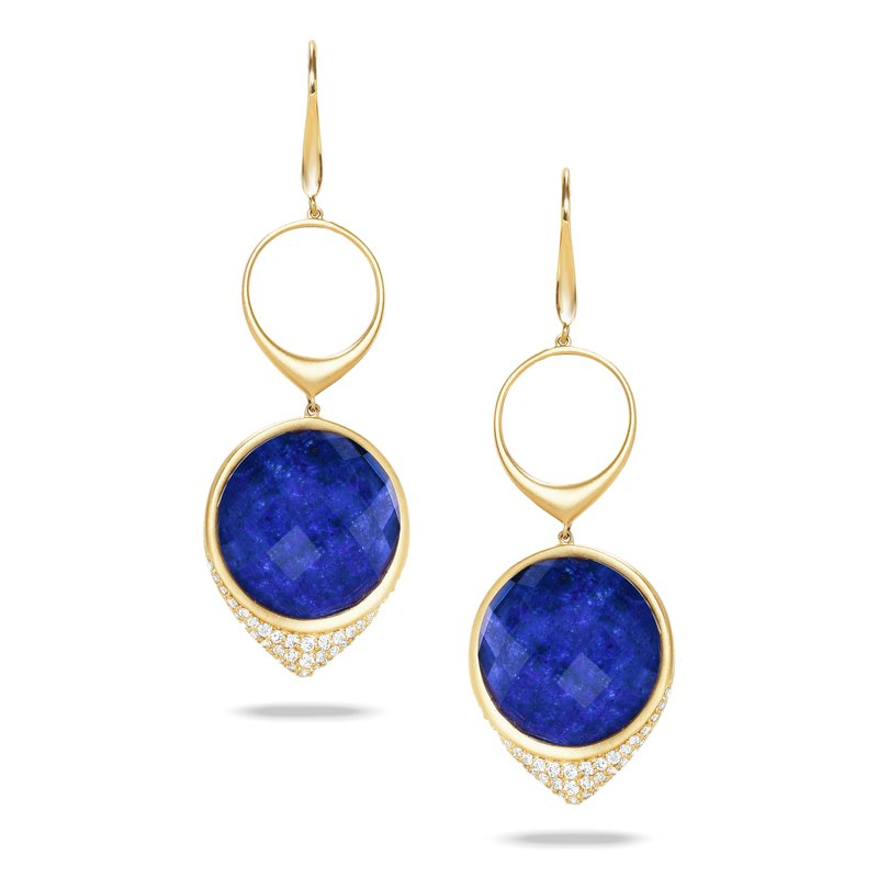 Doves Royal Lapis Dangle Earrings 18KY