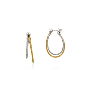Yellow & Grey Cable Asymmetrical Hoop Earrings with 18kt White Gold