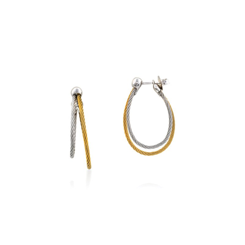 ALOR Yellow & Grey Cable Asymmetrical Hoop Earrings with 18kt White Gold