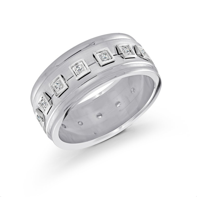 Mardini 10mm all white gold band, embelished with 16X0.015CT diamonds