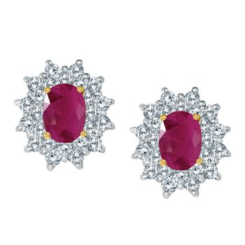 14k Yellow Gold Oval Ruby and Diamond Stud Earrings