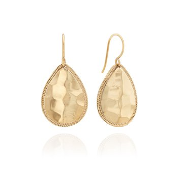 Medium Hammered Teardrop Earrings - Gold