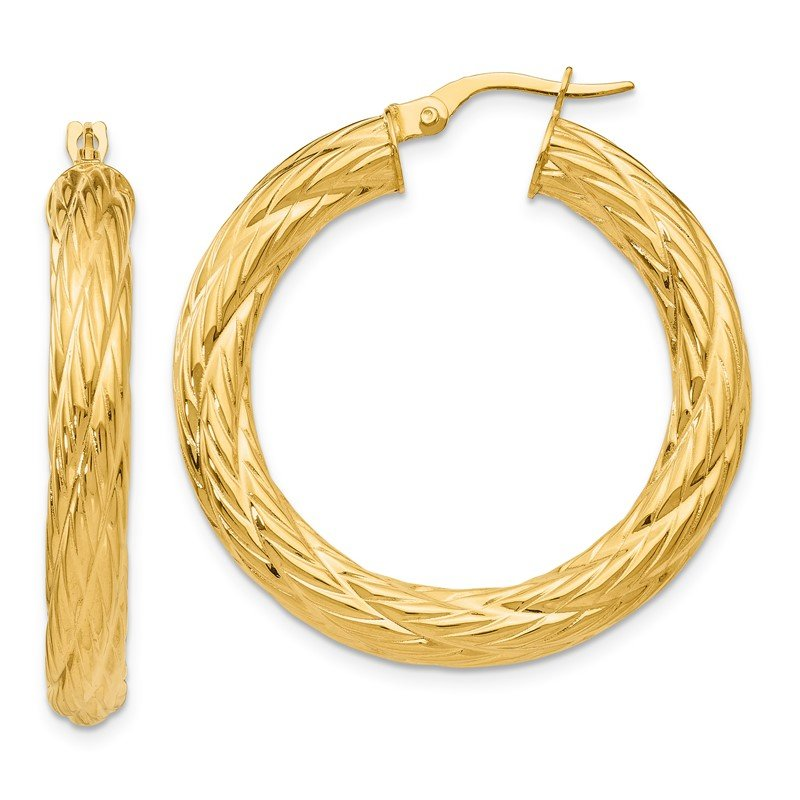 Quality Gold 14k Textured Tube Hoop Earrings
