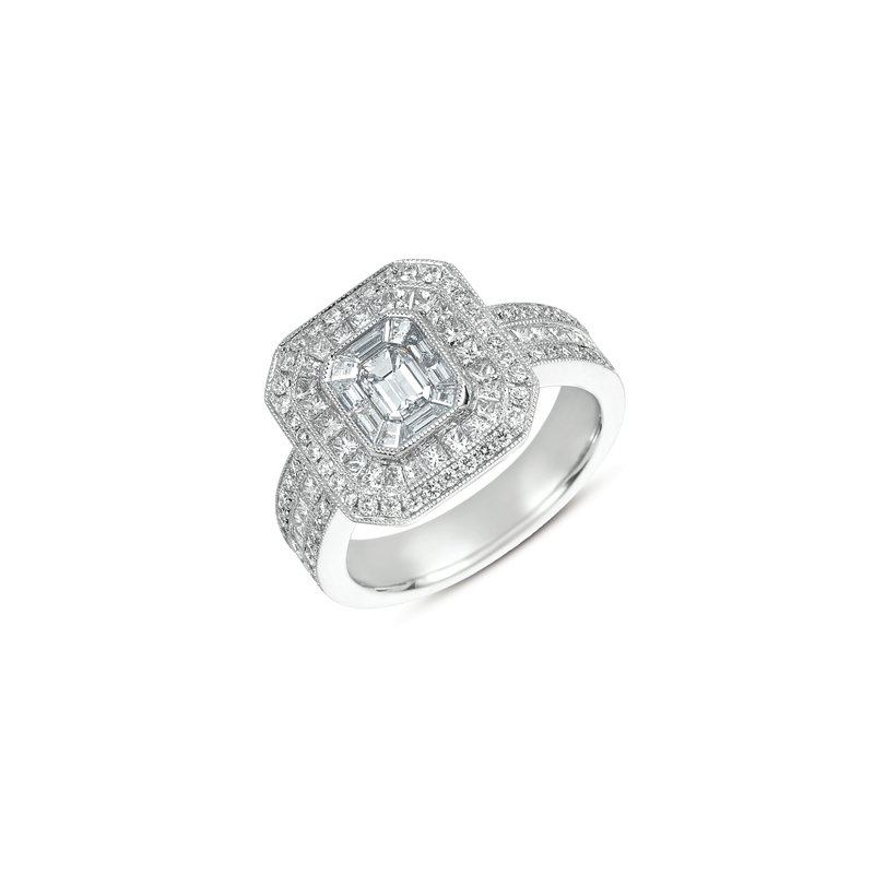 S. Kashi  & Sons White Gold Micro Pave Ring