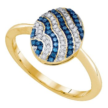 10kt Yellow Gold Womens Round Blue Color Enhanced Diamond Striped Cluster Ring 1/6 Cttw