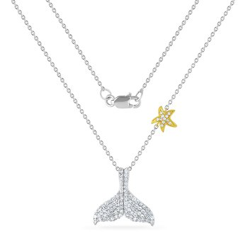 14K whale tail necklace with 93 diamonds 0.46CT 15mm long X 17mm wide