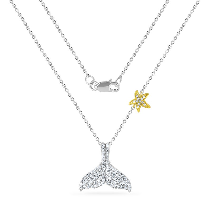 Shula NY 14K whale tail necklace with 93 diamonds 0.46CT 15mm long X 17mm wide