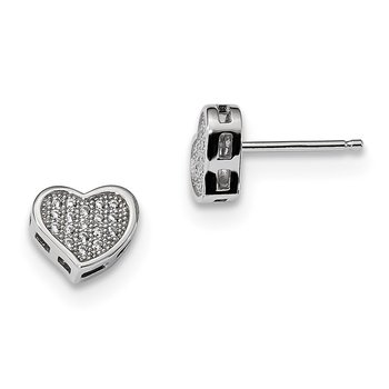 Sterling Silver & CZ Brilliant Embers Heart Post Earrings