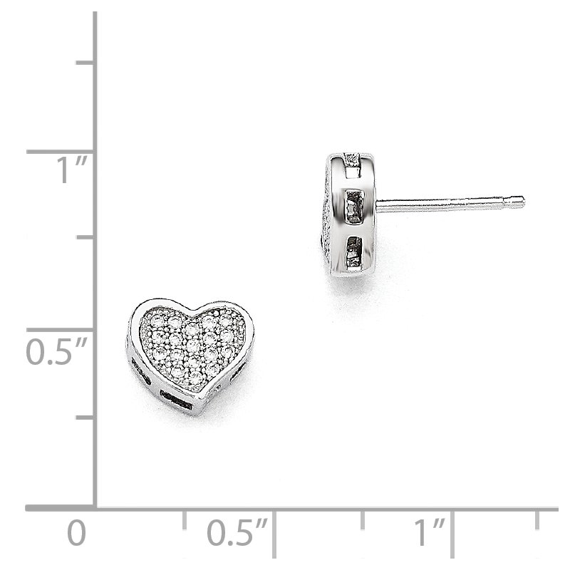 Quality Gold Sterling Silver Brilliant Embers Rhodium-plated CZ Heart Post Earrings