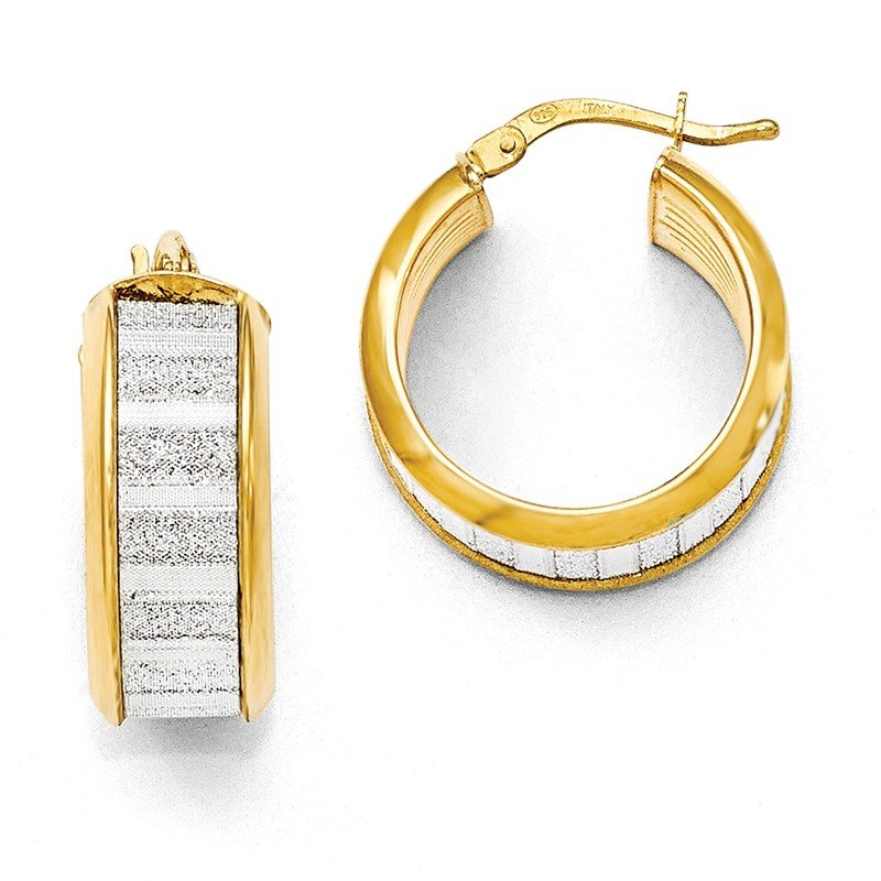 Leslie's Leslie's Sterling Silver Gold-tone Glimmer Infused Hoop Earrings