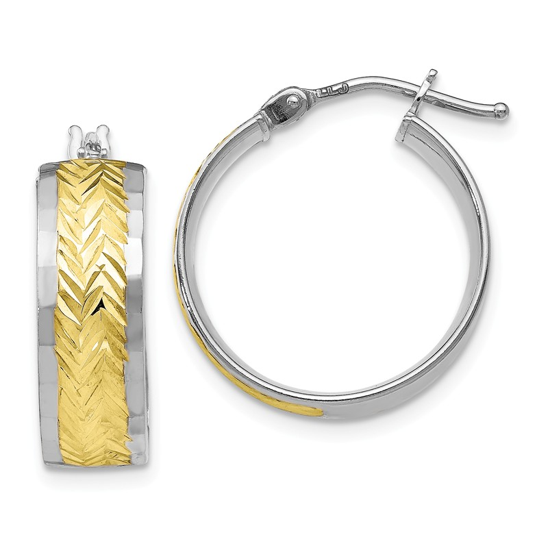 Perfect Jewelry Gift Leslies 14k with Rhodium-plated D//C Twisted Hoop Earrings
